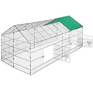 TecTake Kaninchen Freigehege mit Sonnenschutz Kaninchenstall | LxBxH 180 x 75 x 75 cm - diverse Farben - (Dach grün | Nr. 402420)