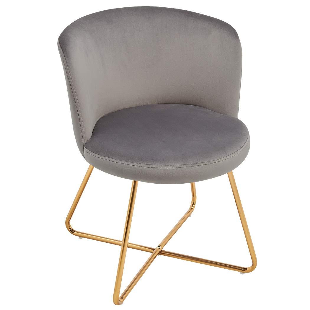 Duhome 2er Set Esszimmerstuhl aus Stoff Samt Hell Blau Polsterstuhl Retro Design Stuhl mit Rückenlehne Besucherstuhl Metallbeine Farbauswahl 8076X 3