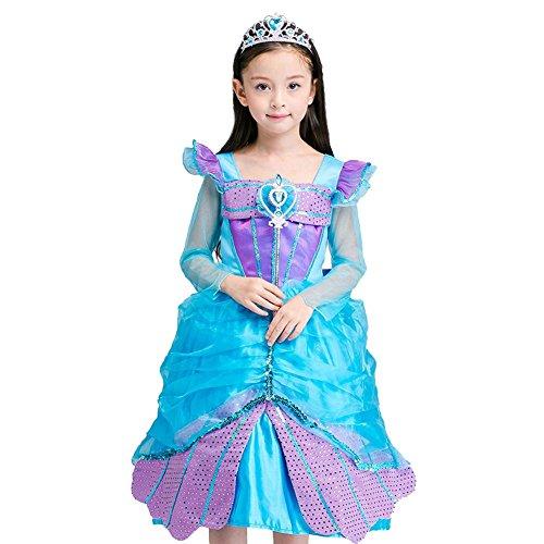 Blumenmädchen Kleider Tulle Chiffon Kinder Performance Hochzeit Festzug Party Prinzessin Kids Weihnachten Halloween Blau Lila . Blue . 130Cm