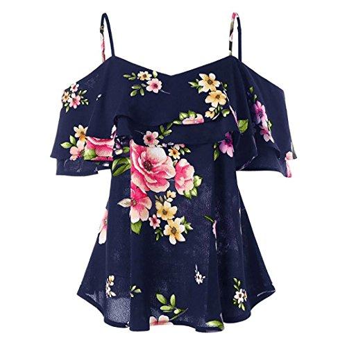 ESAILQ Damen hochwertige online bestellen romantische gestreift Blumen Blauen Glitzer blusen Frauen Bluse Blumenmuster Punkten Gestreifte schwarz(S,Marine)