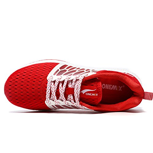 ONEMIX Chaussures de Course Running Sport Compétition Trail Engrener Entraînement Homme Femme Basket Ete Baskets Noir Rouge / Blanc