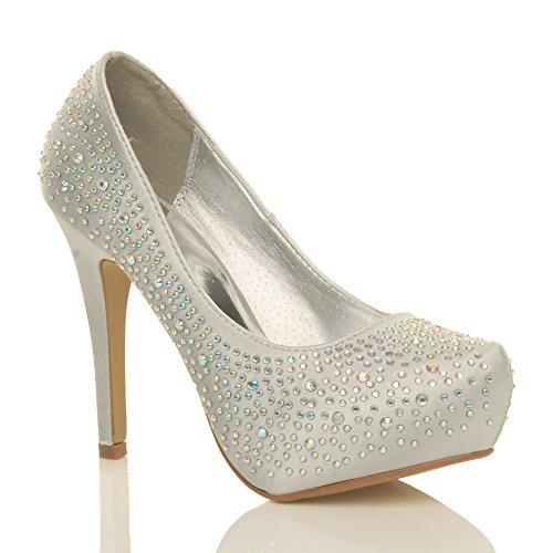 Ajvani, Chaussures À Talons Pour Femme (silver Satin Diamante)