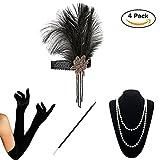 KQueenStar 1920s Accessories set Flapper Costume For Women Fancy Dress Accessories Feather Headband,Gloves,Pearl Necklace,Black Cigarette Holder (Black1)