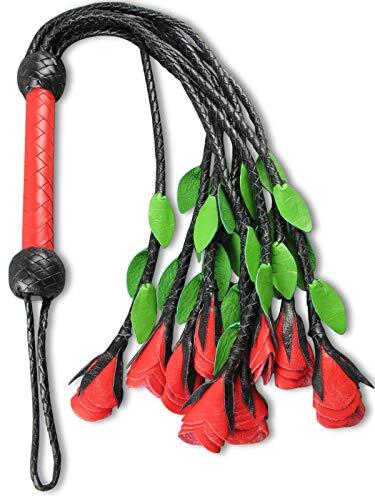 Leder Peitsche mit 9 Rosen CATS Lederpeitsche Schwarz Rot Premium-Qualität Leder-peitsche