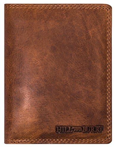 Hill Burry Herren Echt-Leder Geldbörse | Voll-Leder Vintage Portmonnaie Brieftasche Portmonee Geldbeutel - aus hochwertigen weichem Leder - Hochformat (Braun) - Echte Leder-geldbörse