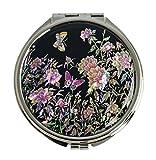 TaschenSpiegel, Design Pfingstrose Blumen und Schmetterling. Koreanisches Handwerk aus Perlmutt, Luxus-Accessoire für Make-up