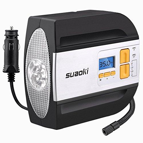 SUAOKI Digitaler Luftkompressor DC 12V 100 PSI Tragbar Reifen Luftpumpe Druckluft Kompressor mit LED-Beleuchtung für Auto, Motorrad, Fahrradd, usw