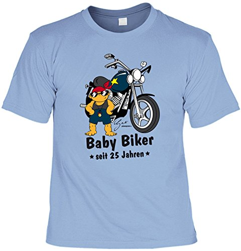 T-Shirt zum 25. Geburtstag Shirt Baby Biker seit 25 Jahren Geschenk zum 25 Geburtstag 25 Jahre Geburtstagsgeschenk 25-jähriger Hellblau