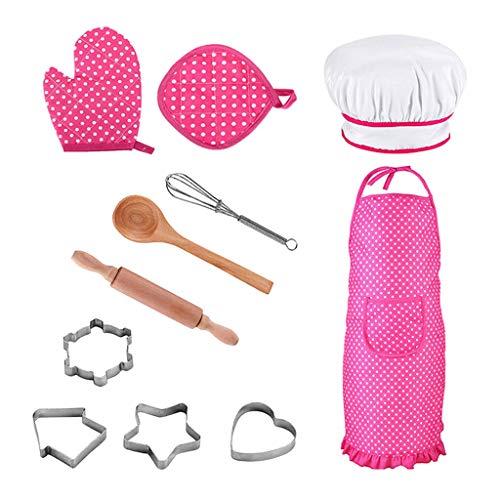 FLAMEER 11 Stück Kinder Chef Koch-Set Schürze Handschuh Küchenutensilien Kit für Kleinkind Rollenspiel Spielzeug - Rosa