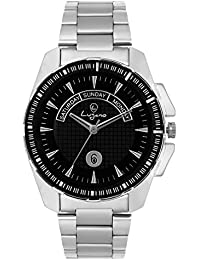 Lugano Big Black Dial Metal Analog Watch For Men/Boys (LG 1079)