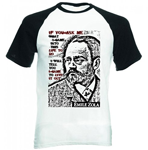 Teesquare1st EMILE ZOLA IF YOU ASK ME QUOTE MANICHE CORTE NERE T-shirt Size XXLarge