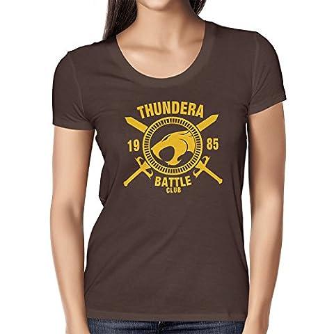 TEXLAB - Thundera Battle Club 1985 - Damen T-Shirt, Größe M, braun (He-man-kostüm Für Kinder)