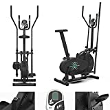 We R Sports Deluxe 2-IN-1 Cross Trainer & Exercise Bike Fitness Cardio Workout With Seat