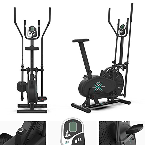 Deluxe 2-in-1 Crosstrainer, Hometrainer für Fitness, Cardio, Workout, mit Sattel