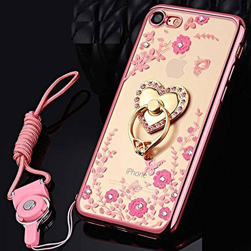 Custodia iPhone 6S Glitter, iPhone 6S Cover Silicone, SainCat Cover per iPhone 6/6S Custodia Silicone Morbido, Bling Glitter Strass Diamante 3D Design Custodia in TPU Transparent Silicone Case Ultra S Rose Gold