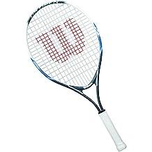 Wilson Raqueta de tenis para niños, Para jugar en todas las áreas, Para principiantes, US OPEN 25, Medida 9-12 años, Gris/Blanco/Azul, WRT21030U