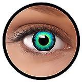 FXEYEZ® Farbige Kontaktlinsen blau Seraphin + Linsenbehälter, weich, ohne Stärke als 2er Pack - angenehm zu tragen und perfekt zu Halloween, Karneval, Fasching oder Fasnacht