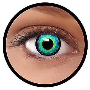 FXEYEZ® Farbige Kontaktlinsen blau Seraphin + Linsenbehälter, weich, ohne Stärke als 2er Pack – angenehm zu tragen und perfekt zu Halloween, Karneval, Fasching oder Fasnacht