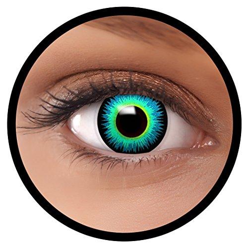 """FXEYEZ Farbige Kontaktlinsen blau""""Seraphin"""" + Linsenbehälter, weich, ohne Stärke als 2er Pack - angenehm zu tragen und perfekt zu Halloween, Karneval, Fasching oder Fasnacht"""