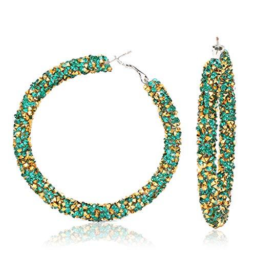 EHDZHPL Mode Persönlichkeit, Legierung Diamantohrringe, einfache Popohrringe, hellgrün -