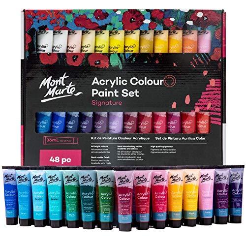Mont Marte Acrylfarben Set Premium - 48 Stück, 36ml Tuben - Ideal für Acrylmalerei - Brillante Lichtechte Farben mit großer Deckkraft - Perfekt geeignet für Anfänger, Profis und Künstler