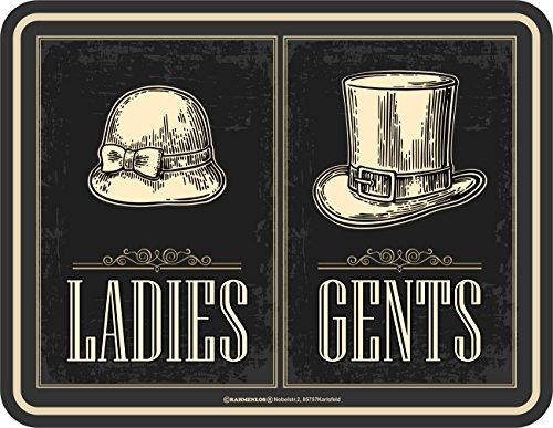 Rahmenlos original targa in metallo: bagni di uomini-donne-ladies gents