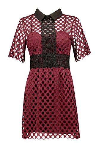 Wein Damen Boutique Bethany Crochet Lace Halsband Kleid Wein