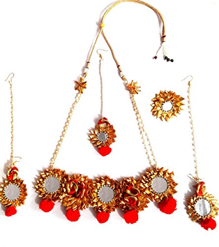 Floret Jewelllery Red Golden Gota Patti Jewellery Set With Mirror Work With Earrings & Maang Tika For Women &...