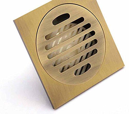 KHSKX Drains de plancher de salle de bains moderne et résistant aux odeurs vert bronze brossé antique toilette drain de plancher dans l'épaississement QLTF40-10