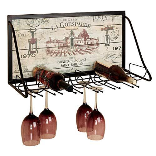 ZBL Weinregal aus Metall zur Wandmontage mit Glashalter, für 6 Flaschen & Amp; 12 Gläser Stemware, exquisite Kunstdekoration fdfs -