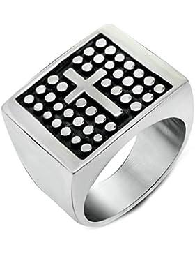 Epinki Herren Ringe, Edelstahl Herrenring Retro Kreuz Muster Dot Personalisierte Band Edelstahlringe Silber