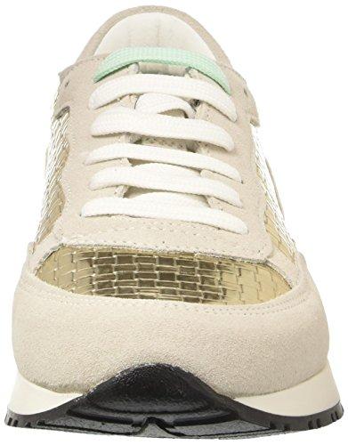 Pollini 7049, Sneaker A Collo Basso Donna Multicolore (White Cow Suede-Platinum Woven Pu-Platinum Lamè Drummed Pu)