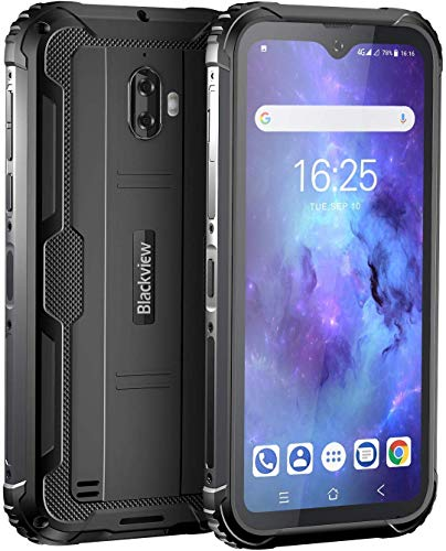 Blackview BV5900 Outdoor Handy Ohne Vertrag 5580mAh Akku, 5,7 Zoll IP69K IP68 Stoßfest Smartphone mit 13.0MP + 5.0MP Kamera, 4G Dual SIM 3GB RAM + 32GB Speicher, Android 9.0 NFC Face ID GPS (Schwarz)
