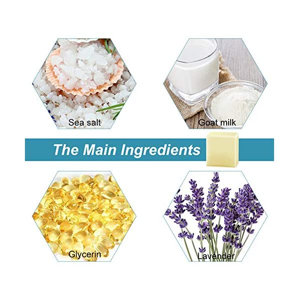 Jabón de sal de mar, antiacné cicatrices de puntos negros y acné, jabón para aliviar el eccema para pieles secas y grasas naturales.