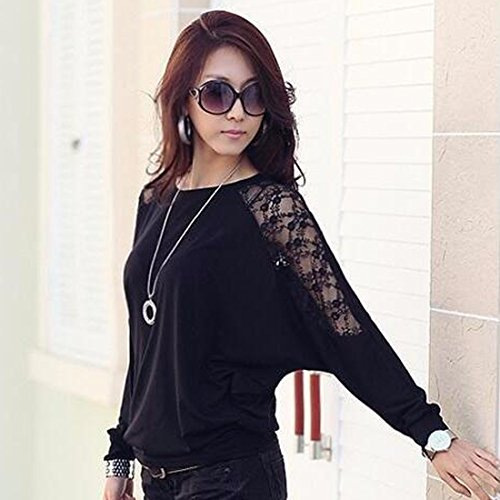 QIYUN.Z Batwing Mode Manches Longues Blouses Femmes Crochet Dentelle Chemises De Base Floraux Noir