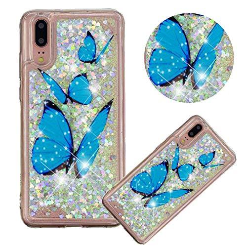 Glitzer Hülle für Huawei P20,Flüssigkeit Silikon HandyHülle für Huawei P20,Moiky Luxuriös Mode Blau Schmetterling Muster Liebe Herzen Treibsand Diamant Weich Gummi Hülle