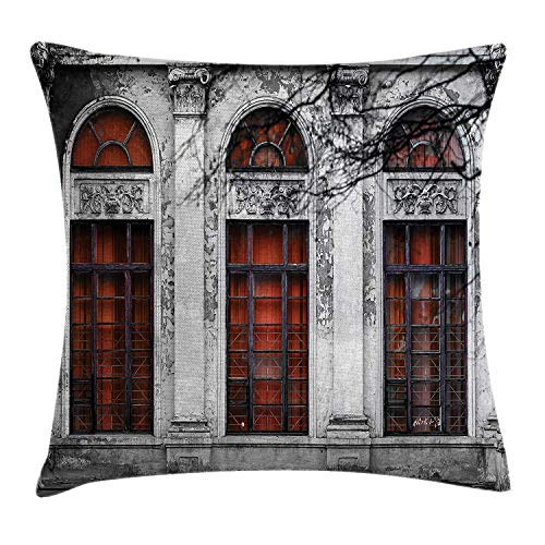 Princess House Heritage (ziHeadwear Vintage Decor Throw Pillow Cushion Cover by, Facade of Old Abandon Historical Building with Arched Large Window Heritage Art, Decorative Square Accent Pillow Case, 18 X 18 Inches, Grey Red)