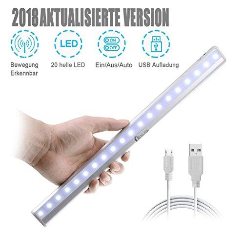 Kitclan Schrankleuchte 20 LED mit Bewegungsmelder, Stick-On Aufladbar Schrankleuchte Portabel Nachtlicht/Sensorleuchte / Stufenbeleuchtung/Ideal für Kabinett, Waschraum, Korridor (kaltweiß)