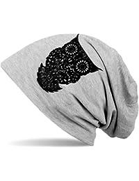 styleBREAKER klassische Beanie Mütze mit Eulen Flock-Print, Damen 04024040
