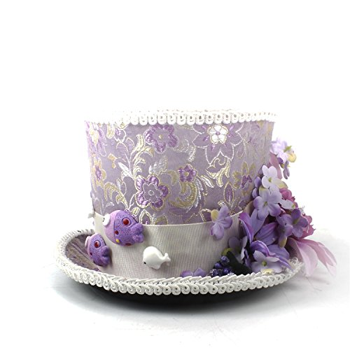 y Derby Mini Top Hat Lila und Creme Blume Mini Top Hut Mad Hatter Tea Party Hochzeit Hut Papa Hut (Farbe : Lila, Größe : 25-30cm) ()