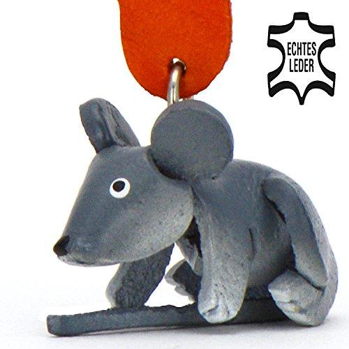 Maus Mickey - Schlüsselanhänger Figur aus Leder in der Kategorie Kuscheltier / Stofftier / Plüschtier von Monkimau in grau - Dein bester Freund. Immer dabei! - ca. 5cm (Tier Ideen Wildes Kostüme)