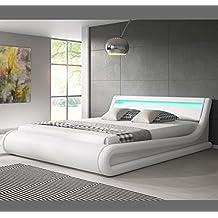 Muebles Bonitos – Cama Canape de matrimonio Patricia en color blanco (180x200cm)