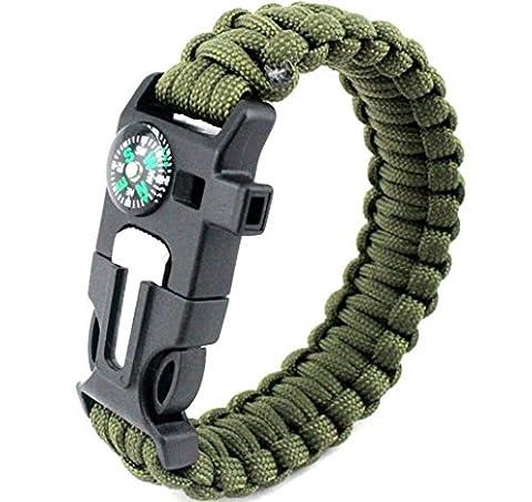 Survival Armband Pack Outdoor Survial-Set mit Fallschirmseil Schnalle Kompass Flint Fire Starter Scraper Whistle Funktion für Ourdoor Notfall [5in (Grüne Scraper)