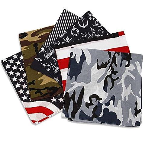 Bundle Monster 6 Pièces Couleur Assortie Patriote Camouflage Bandana Tête Enveloppant Écharpes Ensemble