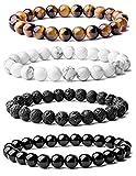 #6: Excidea: Semiprecious Bracelet -1 each of Tiger eye, Howlite, Lava & Black Obsidian | 8mm | Healing | Fashion