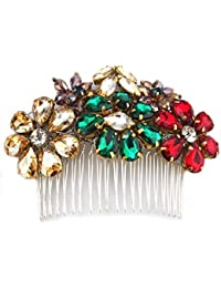 STUDIO ACCESSORIES Multicolor Crystal Embellished Floral Partywear Hair Comb Hairclip
