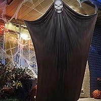 ATROPOS Halloween Decoration Scary Hanging Ghost Props Halloween Hanging Skeleton Flying Ghost for Bars Supermarket Yard Outdoor Indoor (Black)