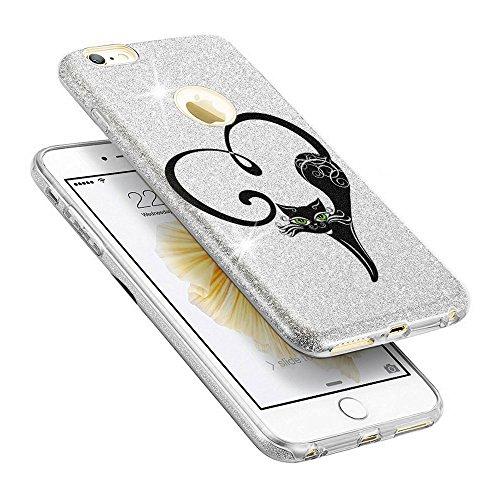 EGO ® Hülle Glitzer Schutzhülle + Panzerglas für iPhone 6 Plus 6S Plus, Silber Blume Back Case Bumper Glänzend Transparente TPU Bling Weiche Glamour Handy Cover Silber Katze