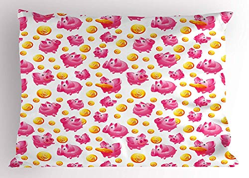 Pig Pillow Sham, Piggy Bank and Coins Dollar Signs Money Box Pennies in Funny Cartoon Design, Decorative Standard Queen Size Printed Pillowcase, 30 X 20 inches, Pink Yellow White (Dollar Und Coin Bank)