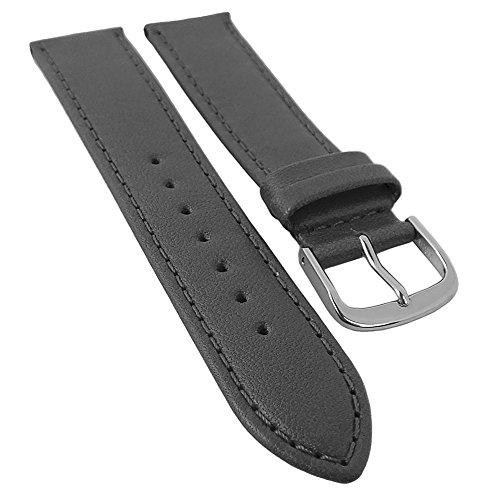 Taurus Ersatzband Uhrenarmband 16mm und 20mm | weiches Kalbsleder grau, mit Naht in Überlänge 30178, Stegbreite:20mm, Schließe:Silbern